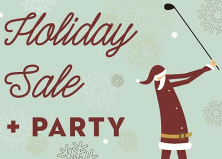Artwork of Santa golfing with text that reads Holiday Party & Sale