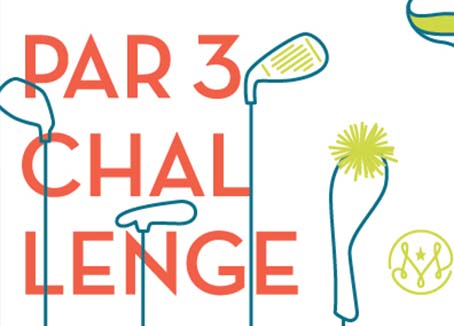 Artwork with golf clubs that says Par 3 Challenge